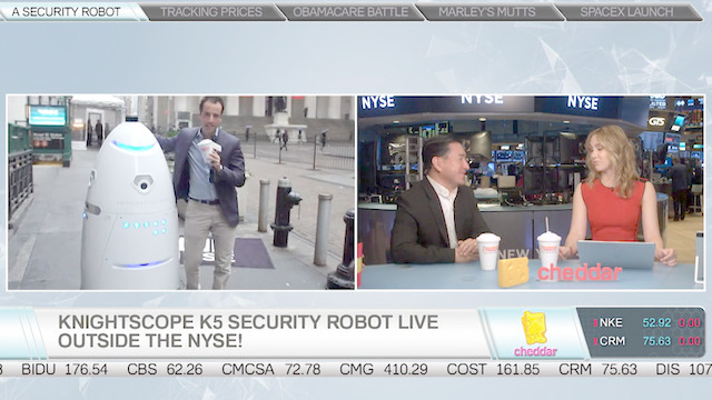 Knightscope Shows Off Its K5 Security Robot at the NYSE